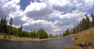Yellowstone River Clouds Time Lapse Stock Footage