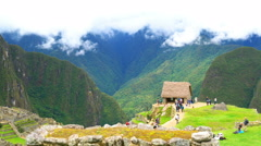 View of Machu Picchu and the mountain Stock Footage