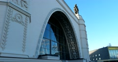 Arches of the  Space, basreliefs sculptures in the Empire style of Soviet period Stock Footage