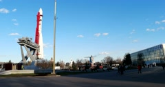 The layout of the Soviet rocket Vostok at VDNKH Stock Footage
