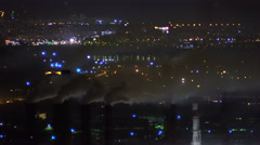 Air Pollution From Industrial Enterprise Night Stock Footage