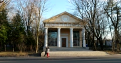 """Elegant Stalinist Empire, the pavilion of the """"Books"""" at ENEA Stock Footage"""