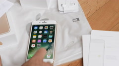 IPhone 7 plus dual camera unboxing - entering appstore Stock Footage