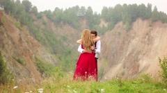 The lovers are in the mountains Stock Footage
