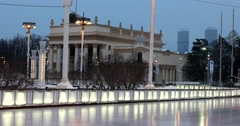 Blue winter twilight, sleep in a historic building, ice-skating rink at VDNKH Stock Footage