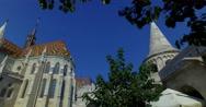 Roman Catholic Matthias Church and king St. Stephen I monument in Fisherman´s Stock Footage