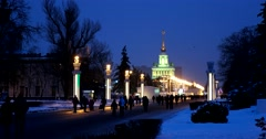 Winter evening on the main Avenue of VDNH Park Stock Footage