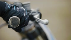 Cross motorcycle engine start. MX, close up shot of hand on handlebar Stock Footage