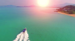Beautiful sea landscape with tropical coast and the high-speed boat at Tachai Stock Footage