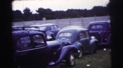 1955: oldsmobiles parked on grassy lot for giant event LE MANS GRAND PRIX Stock Footage