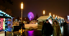 Christmas fair, lighting at night, the scenery of the forest Stock Footage