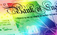 Pound currency background - 20 Pounds - Rainbow Stock Photos