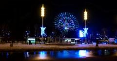 Led illumination of the Ferris wheel of the VDNKH, winter night Stock Footage