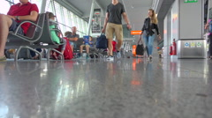 Warsaw Chopin airport, waiting area, travellers in transit Stock Footage