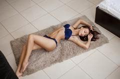 Sexy lady in elegant panties and bra Stock Photos