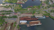 Old commercial vessels at the dock. aerial view Stock Footage