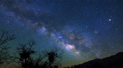MoCo Pan Astro Time Lapse of Milky Way & Moon Rise over Sierra Nevada -Long Shot Stock Footage