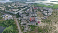 Residential city block. aerial view Stock Footage
