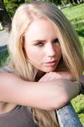 Slovenian beautiful girl with a flirtatious look Stock Photos