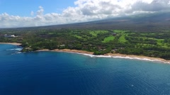 Aerial approach to a Hawaiian beach, Maui Stock Footage