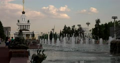 "At sunset the Central pavilion and fountain ""the Stone flower"" at ENEA Stock Footage"
