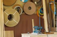 Furniture workshop, woodworking shop, interior Stock Photos