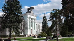 "Monument of the Soviet culture, pavilion ""Meat industry"", a sculpture of a bull Stock Footage"