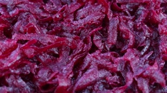 Healthy homemade salad of boiled beetroot ready to eat, close up Stock Footage