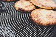 Freshly baked pitas at country fair outdoors Stock Photos