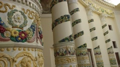 """Bright floral painting on the columns of the facade of the pavilion """"Belarus"""" Stock Footage"""