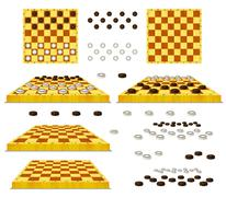 Set of Chessboard and Checkers Isolated on White Background Stock Illustration