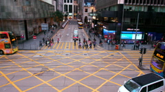 BUSES ON DES VOEUX ROAD CENTRAL HONG KONG CHINA Stock Footage