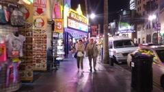 POV hyperlapse walk through tourist crowds on Hollywood Boulevard Stock Footage