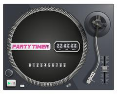 Illustration with modern turntable and timer to start event Stock Illustration