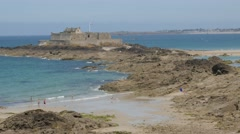 SAINT-MALO, FRANCE - JUNE 2015 Beach and  fort on island of Saint-Malo  Stock Footage