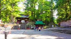 Time-lapse Front Steps Entrance Toshogu Shrine Thirds Nikko Japan Day Stationary Stock Footage