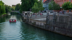 A boat is sailing on Ljubljanica Stock Footage