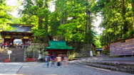 Time-lapse Front Gate UNESCO Tosho-gu Shrine Entrance Nikko Japan Day Panning Stock Footage