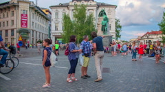 Summer time in the main square of Ljubljana Stock Footage