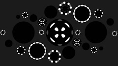 CIRCULAR VJ LOOPS - MOSAICO GALAXYA - RING LIGHTS B/N Stock Footage