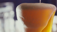 Beer bubbles in the high magnification and close-up Stock Footage