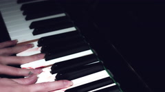 4k Halloween Shot of Bloody Hands on Piano in Horror Style Stock Footage