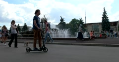 "Visitors to the area Collective at the fountain ""Stone flower"", ENEA Stock Footage"