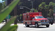 Fire and Rescue truck with emergency lights Stock Footage