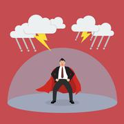 Businessman superhero with barrier protecting from thunderstorm Stock Illustration