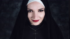 4k Halloween Shot of a Horror Nun Smiling Evil at Camera Stock Footage
