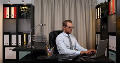 Business Male Using Computer Happy Breakthrough Moment Great Victory Office Desk Stock Footage