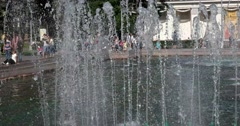 "The play of light in the revived streams of the fountain ""Stone flower"" at ENEA Stock Footage"