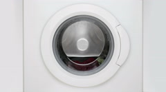 Washing machine. Process of washing Stock Footage
