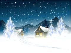 Winter town Stock Illustration